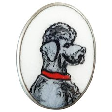Antique Victorian Enamel Poodle Button 3/4""