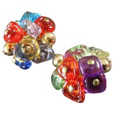 Two Italian Murano Glass Brass Couture Buttons 1""
