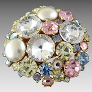 Bling! X-Large Italian Pastel Coloured Couture Paste Rhinestone Faux Pearl Button 2 1/8""