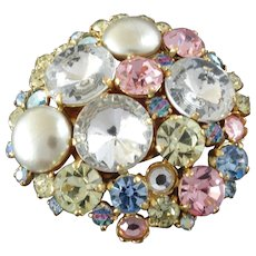 """Bling! X-Large Italian Pastel Coloured Couture Paste Rhinestone Faux Pearl Button 2 1/8"""""""