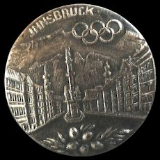 """Olympic Games Innsbruck Metal Picture Button 1 1/16"""""""