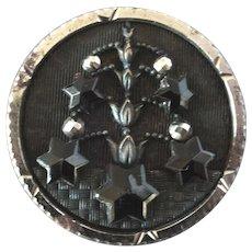 "Large Antique Victorian Metal Black Glass Cut Steel Button 1 1 1/4"""