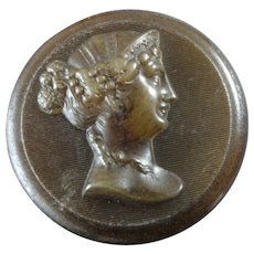 Antique Victorian Pressed Horn Button Woman's Head in Profile 1 3/16""