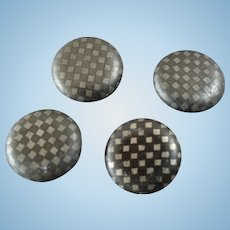 """Four Small Antique Victorian Niello Tula Checkerboard Buttons 5/16"""" Great for Dolls and Bears"""