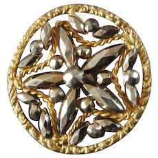 """Antique Victorian Openwork Gilt Metal Cut Steel Button 1 1/8"""""""