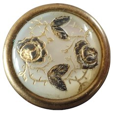Antique Victorian Engraved Mother of Pearl Gilt Metal Waistcoat Button Roses 5/8""