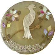 """Large Horn Composition Button Mother of Pearl Silver Brass Inlay Bird Motif 1 1/4"""""""