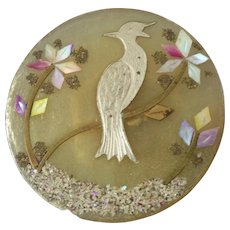 Large Horn Composition Button Mother of Pearl Silver Brass Inlay Bird Motif 1 1/4""