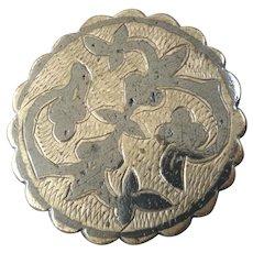 """Antique Russian Niello Low Grade Silver Button 1 1/8"""""""