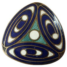 Vintage Triangular Art Deco Enamel Button Geometric Pattern Blue Green White 1""