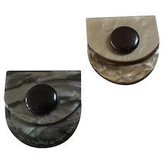 """Two Vintage Art Deco Figural Galalith Casein Buttons Bags Purses 1 1/8"""""""