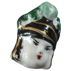 Monique Ogier Signed Vintage French Painted Porcelain Figural Couture Button Human Head 1 1/16""