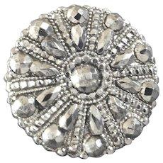 "Antique Georgian Elaborately Worked Cut Steel Button 1"""