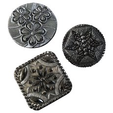 """Three Large Antique Victorian Czech Lacy Black Glass Buttons Passementerie Designs - up to 1 5/8"""""""