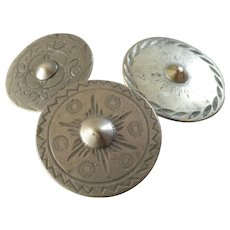 """Three Antique Georgian Hand Tooled Metal Buttons Shield Boss Buttons 1 1/16"""" to 1 1/8"""""""