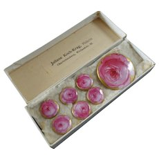 """Antique Set of 7 Handpainted Porcelain Buttons in Original Box Pink Roses 1 1/2"""" and 5/8"""" Signed"""