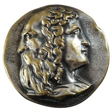 """Large Antique Victorian Allegorical Two-Face Metal Picture Button Youth Old Age - a hair under 1 1/4"""" - last one"""