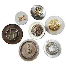 """7 Vintage Mother of Pearl Buttons with Metal Escutcheons Horse Lion Knight Armour Flower 7/8"""" to 1 3/16"""""""