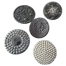 """5 Large Antique Victorian Czech Black Glass Buttons 1 1/4"""" to 1 7/16"""""""