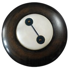 """X-Large Vintage Art Deco Wood Mother of Pearl Casein Inlay Button 2 11/16"""""""