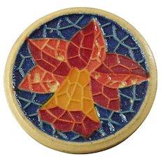 "Vintage Art Deco Rumanit German Sort of Plastic Button Flower Mosaic Daffodil Lily 13/16"""