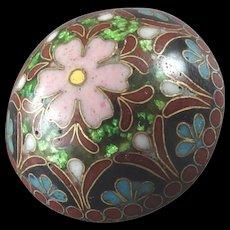 """Antique Victorian True Cloisonné Enamel Button Flower 15/16"""" Asia"""