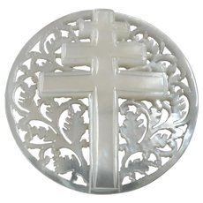 Large Carved Openwork Mother of Pearl Bethlehem Holy Land Jordan Pearl Button Double Cross 1 5/16""