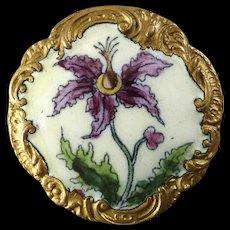 """Antique Victorian Signed EM Paris Enamel Flower Thistle Button 1 1/8"""" - tiny surface chip"""