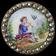 """Antique Victorian Painted Enamel Cut Steel Gilt Metal Pastoral Button Man Flute Bird Cage Landscape 1 1/8"""""""