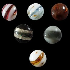 """Six Antique Victorian Czech Lampworked Glass Buttons Foil Inlay Slag Glass Mica Stripes 7/16"""" to 1/2"""""""