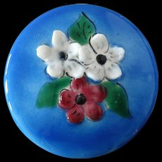 """Large Vintage French Couture Ardeche Limoges Enamel Button Three-Dimensional Flowers 1 3/4"""""""