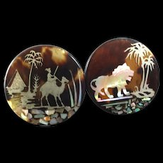 """Two Antique Victorian Pique Silver Mother of Pearl Shell Horn Oriental Lapel Stud Patent Buttons Lion Camel Palm Tree Pyramid Egypt 1 1/16"""""""