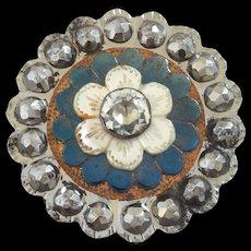 "Large Antique Georgian Cut Steel Mother of Pearl Paste Blued Steel Copper Foil Button 1 7/16"""