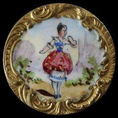 """Antique Victorian Painted Enamel Gilt Metal Button Pastoral Scene 1 1/16"""" by Albert Parent"""