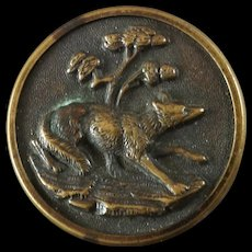 """Antique Victorian French Hunt Sporting Metal Picture Button by TWW Paris Fox in Landscape 1 1/16"""""""