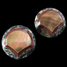 """Two Large Chunky Vintage Art Deco Casein Galalith Mother of Pearl Shield Buttons 1 7/8"""""""