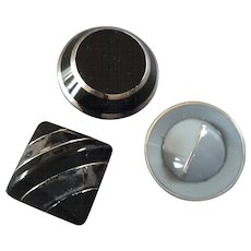 Three Vintage Art Deco Czech Platinized Black Grey Glass Buttons  - up to 1 3/16""