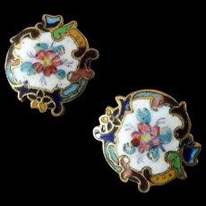 "Two Antique Victorian Painted Enamel Gilt Metal Buttons 5/8"""