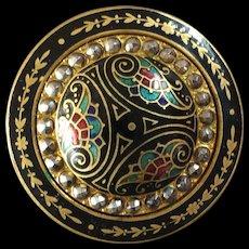 "Large Antique Victorian Basse Taille Enamel Cut Steel Gilt Metal Button 1 3/8"""