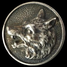 """Expressive Antique Victorian French Hunt Sporting Metal Picture Button Fox Wolf Coyote 1 1/16"""""""