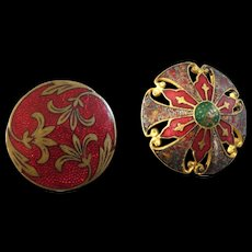 "Two Antique Victorian Enamel Gilt Metal Buttons 15/16"""