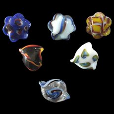 """Six Colourful Antique Victorian Czech Lampworked Glass Buttons Interesting Shapes 5/8"""" to 11/16"""""""