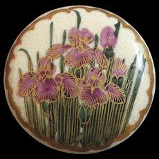 """Large Antique Japanese Satsuma Art Nouveau Button Lily Iris Flower 1 1/4"""""""