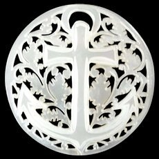 """Large Carved Openwork Mother of Pearl Bethlehem Holy Land Jordan Pearl Button Anchor Cross 1 5/16"""""""