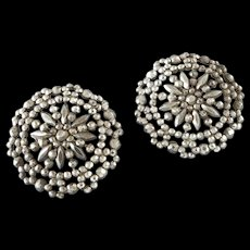 """Two Large Antique Victorian Openwork Cut Steel Buttons 1 3/8"""""""
