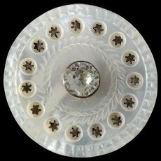 """Large Antique Georgian Carved Pierced Mother of Pearl Paste Button 1 7/16"""""""