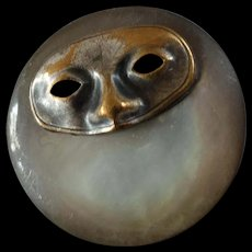 """Antique Victorian Mother of Pearl Metal Application Mask Button 7/8"""" Commedia dell' Arte"""