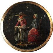 """Large Antique Georgian Reverse Painted Glass Metal Button Two Women 1 7/16"""""""