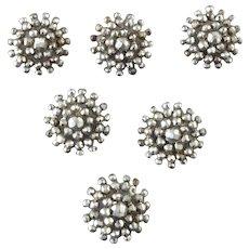 "A Set of Six Antique Victorian Cut Steel Buttons 5/8"""