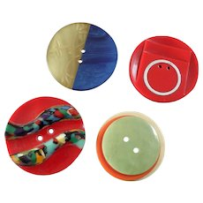"Four Large Colourful Vintage Art Deco Casein Galalith Buttons Carved Aluminium Inlay 1 1/4"" to 1 7/16"""